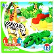 Duże Klocki JDLT 5035 Zoo 13 el zwierzęta