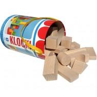 Klocki drewniane kolorowe duże pudełko EKO 30el.