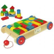 Wózek z klockami duże klocki drewniane kolor 25el.